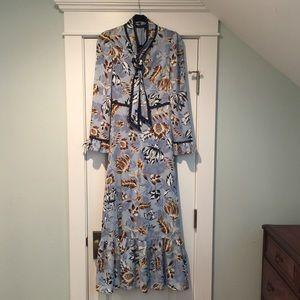 BCBG Ashley blue liberty tie neck maxi dress 0 bow